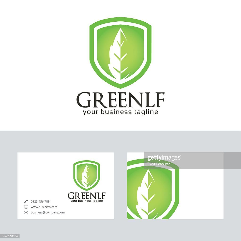 Green Leaf vector logo with business card template