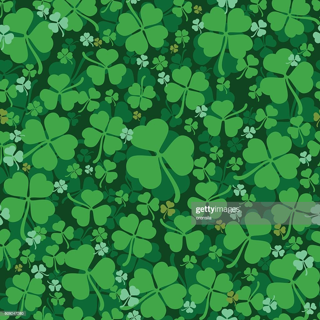 Green leaves clover seamless pattern. Lucky Clover leaf
