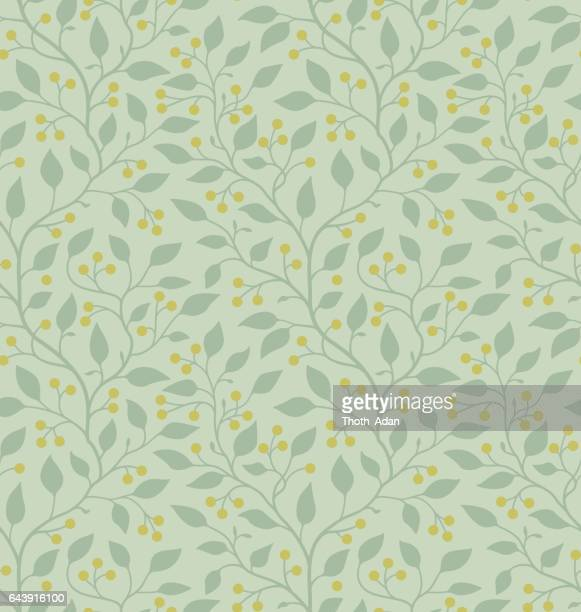 Green leaves with yellow berries (Seamless pattern)