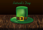 Green leprechaun hat with a leather strap. St.Patrick 's Day. Vector illustration  on wooden background.