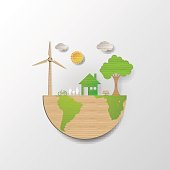 Green life with cardboard paper art style.