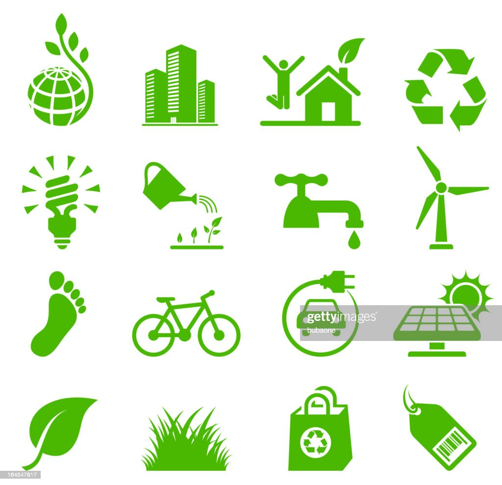 Verde conservación del medio ambiente y el reciclado conjunto de iconos de vector : Ilustración de stock