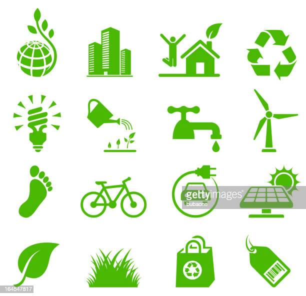 bildbanksillustrationer, clip art samt tecknat material och ikoner med green living environmental conservation and recycling vector icon set - vitalitet