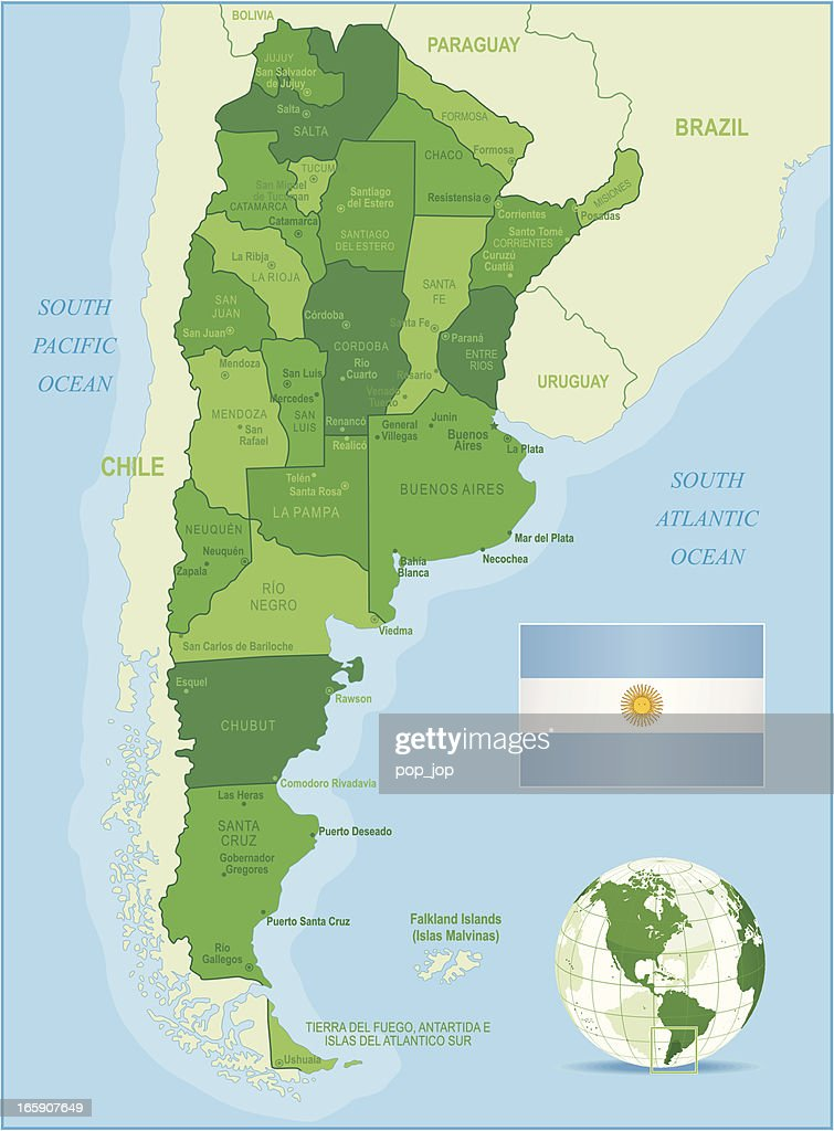 Map Of Argentina States Cities Flag And Navigation Icons Vector