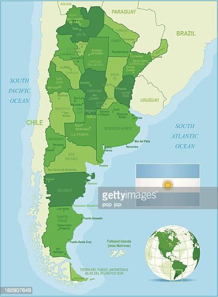 Verde de mapa de Argentina-Membros, cidades e a bandeira