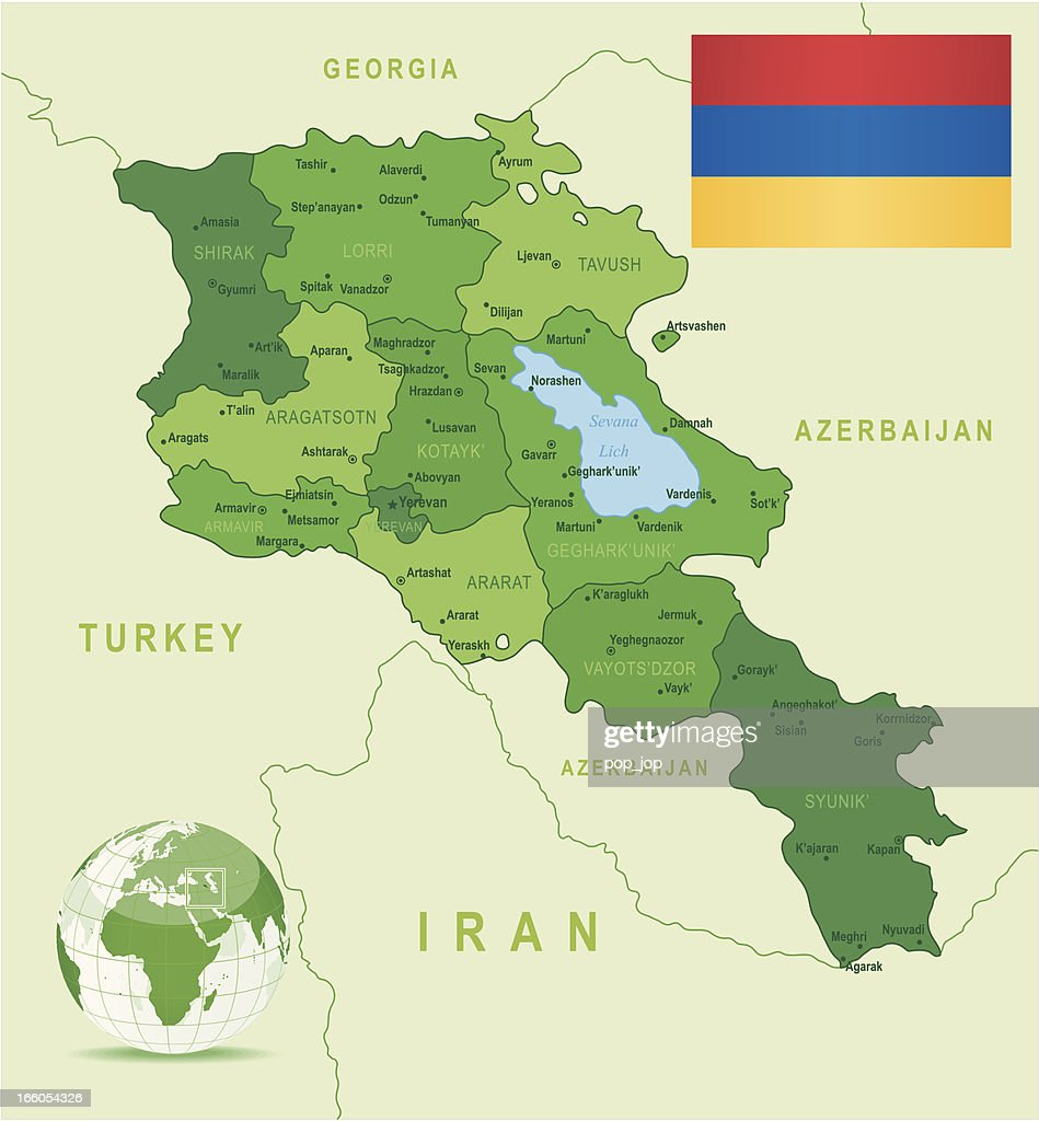 Green Map Of Armenia States Cities And Flag Vector Art Getty Images - Gyumri map