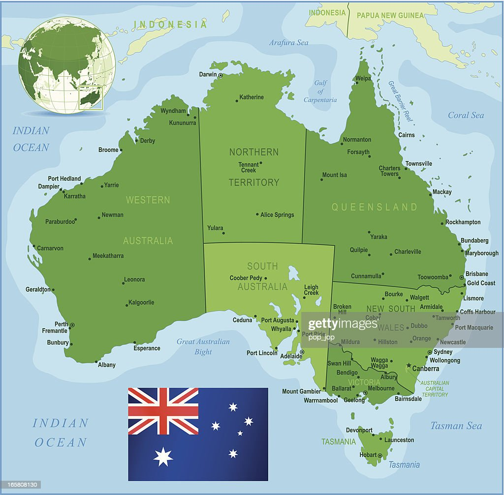 Green Map of Australia - states, cities and flag
