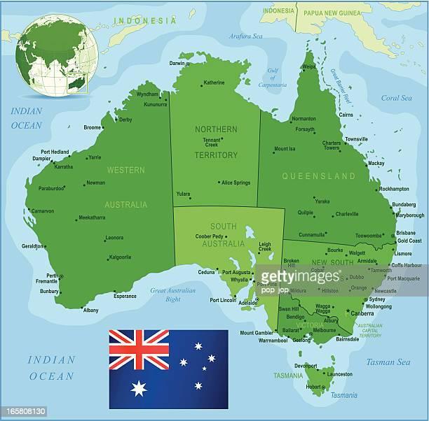 Verde de mapa de Austrália-Membros, cidades e a bandeira