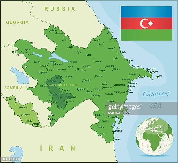 green map of azerbaijan - states, cities and flag - nagorno karabakh stock illustrations