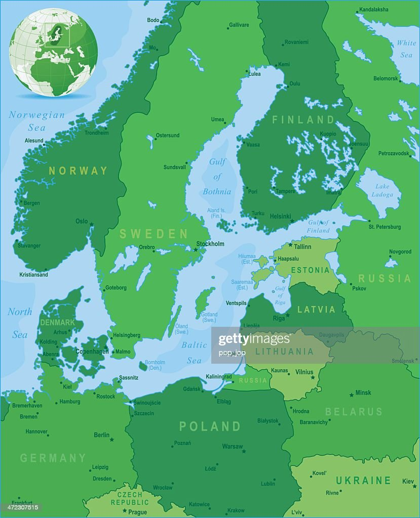 Green map of baltic sea area states and cities vector art getty green map of baltic sea area states and cities vector art sciox Image collections
