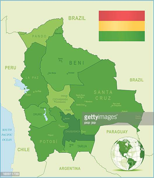 Green Map of Bolivia - states, cities and flag