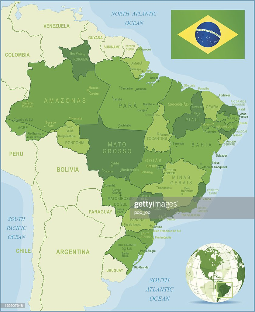 Green Map Of Brazil States Cities And Flag stock illustration ...