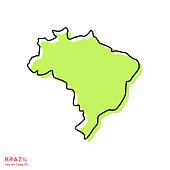 Green Map of Brazil With Outline Vector Illustration Design Template. Editable Stroke.