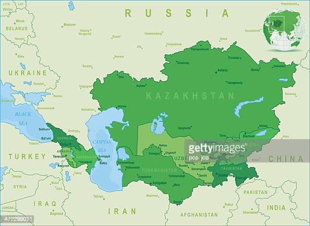 green map of caucasus and central asia - states, cities - kazakhstan stock illustrations