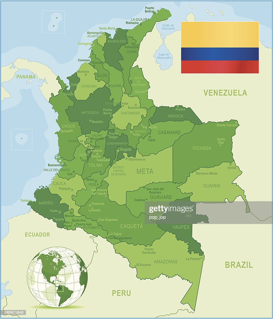 Green Map of Colombia - states, cities and flag