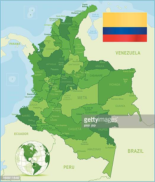 green map of colombia - states, cities and flag - colombia stock illustrations