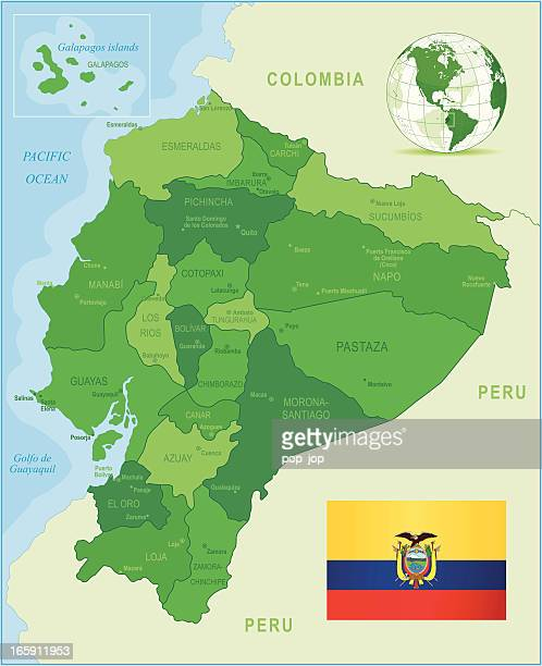Green Map of Ecuador - states, cities, flag