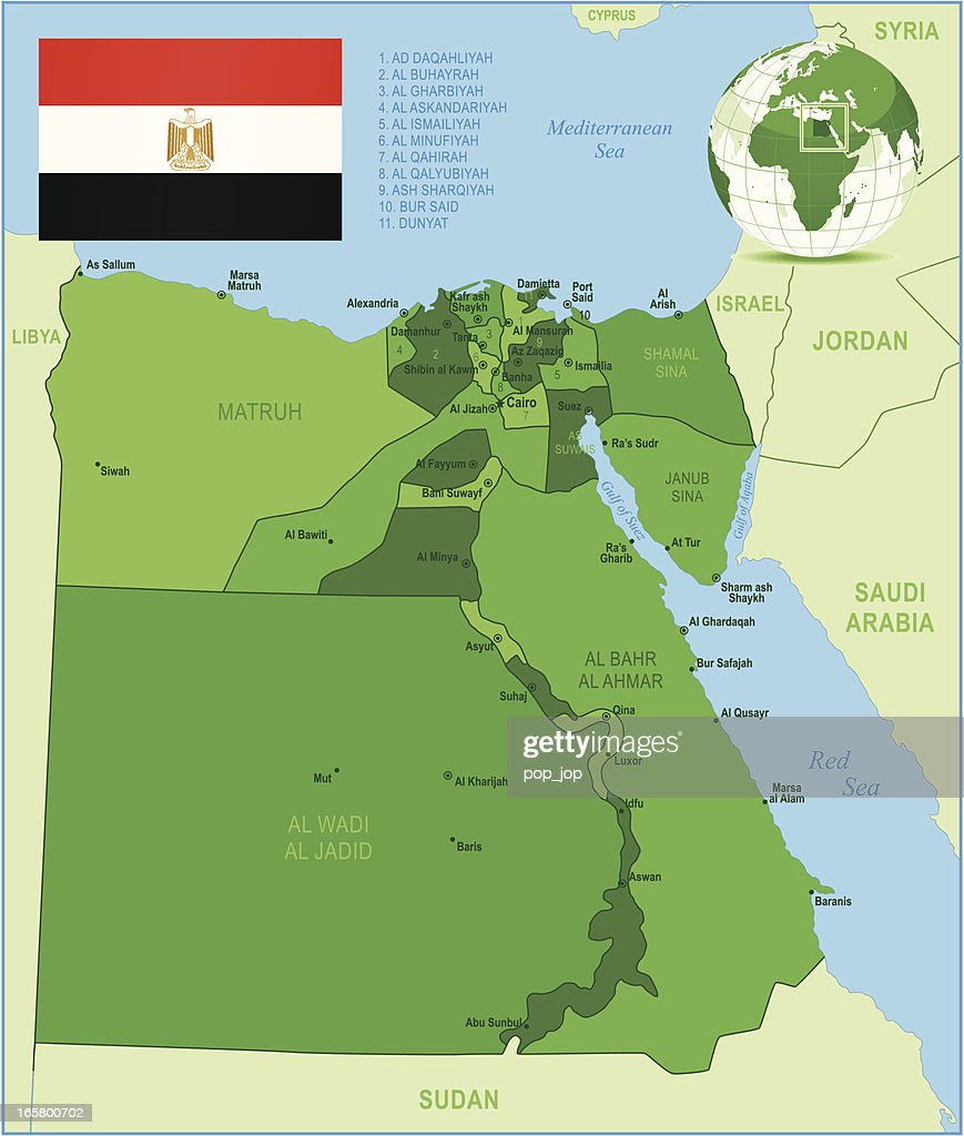 Green Map Of Egypt States Cities And Flag Vector Art Getty Images
