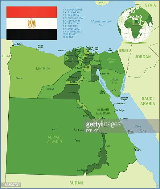 green map of egypt - states, cities and flag - thebes egypt stock illustrations