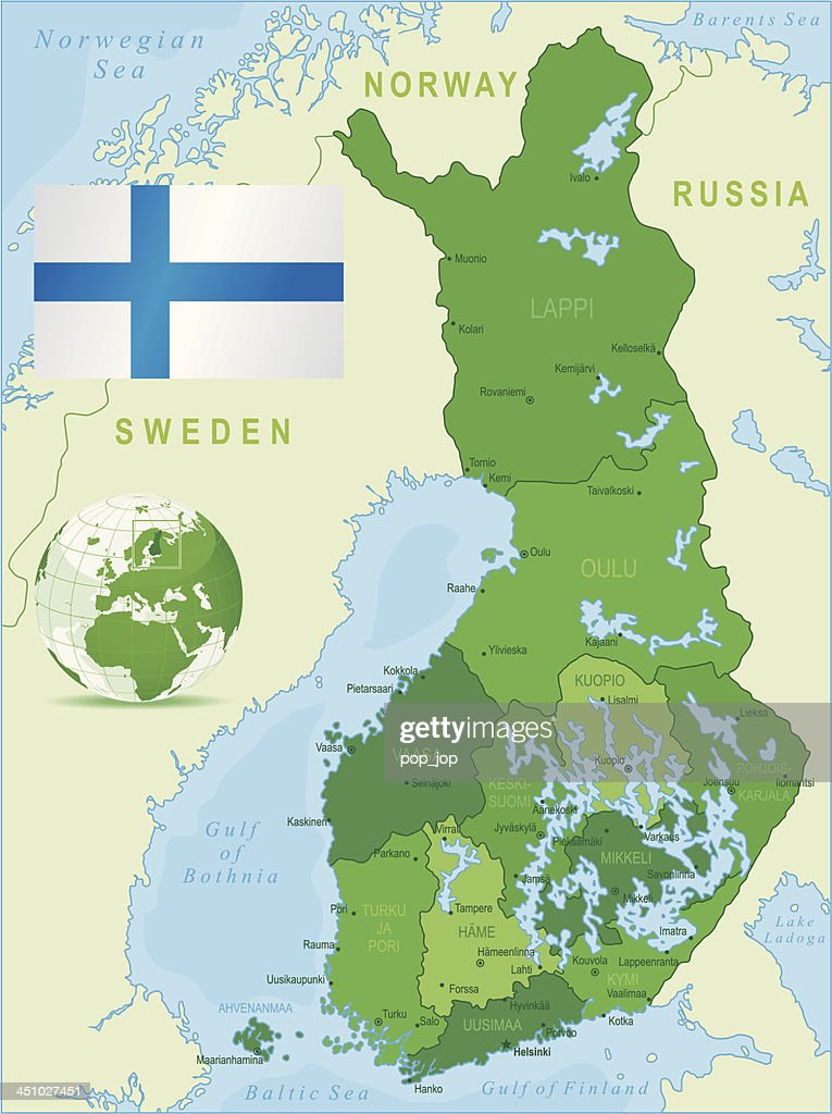 green map of finland states cities and flag vector art