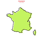 Green Map of France With Outline Vector Illustration Design Template. Editable Stroke.