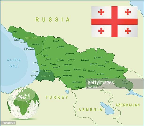grüne karte von georgia-staaten, städte und flagge - georgia stock-grafiken, -clipart, -cartoons und -symbole