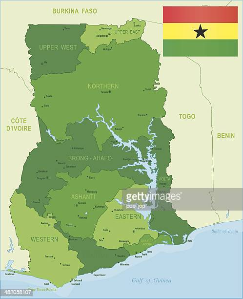 green map of ghana - states, cities and flag - accra stock illustrations, clip art, cartoons, & icons