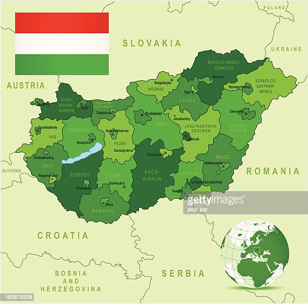 Green Map of Hungary - states, cities and flag