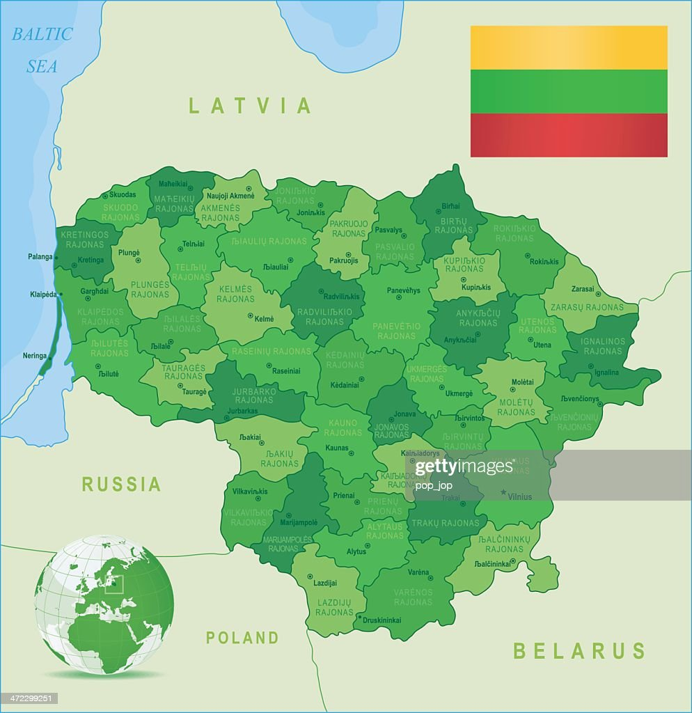 Green Map Of Lithuania States Cities And Flag stock vector | Getty ...