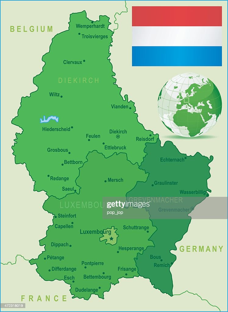 Green Map Of Luxembourg States Cities And Flag Vector Art Getty Images