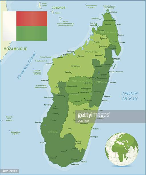 Green Map of Madagascar - states, cities and flag