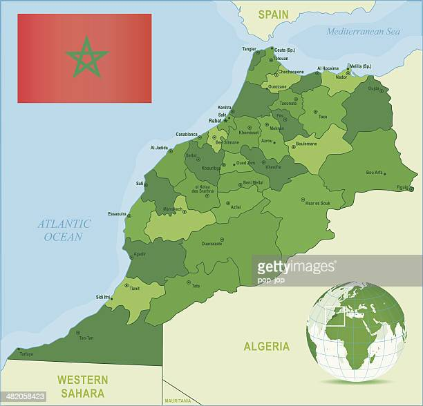 Green Map of Morocco - states, cities and flag