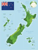 Green Map of New Zealand - states, cities and flag