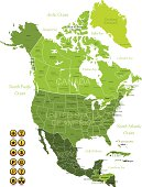 Green map of North America with yellow and black icons