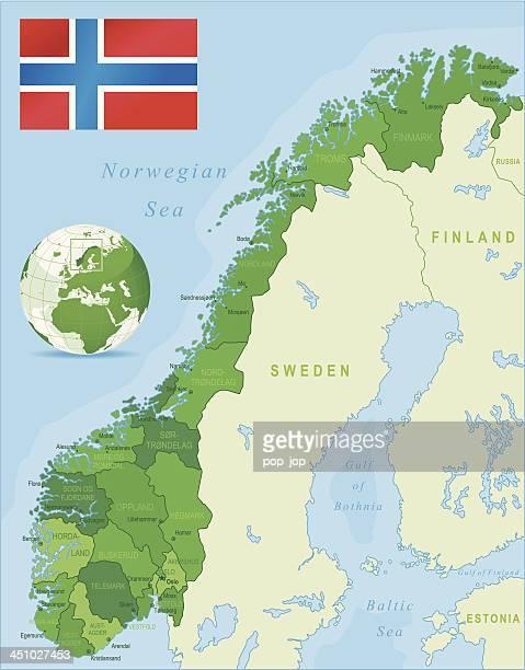 grüne karte von norwegen-staaten, städte und flagge - norwegische flagge stock-grafiken, -clipart, -cartoons und -symbole