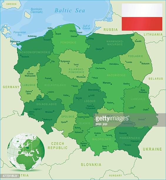 green map of poland - states, cities and flag - malopolskie province stock illustrations