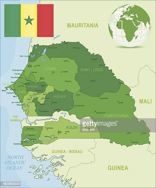 green map of senegal - states, cities and flag - senegal stock illustrations