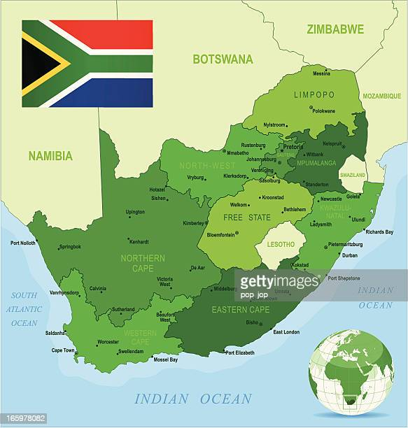 Green Map of South Africa - states, cities and flag