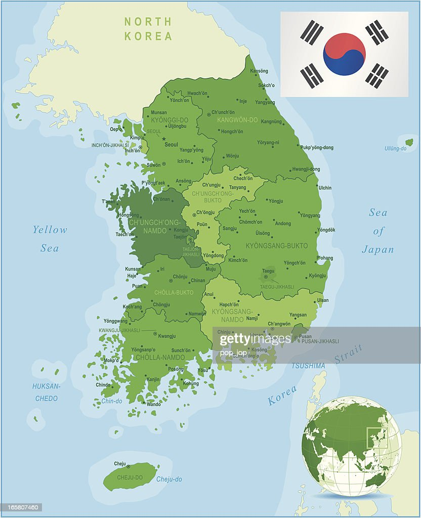 Green Map of South Korea - states, cities and flag : stock illustration