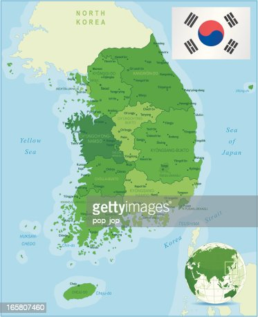Green Map Of South Korea States Cities And Flag Vector Art Getty - Map of south korean cities