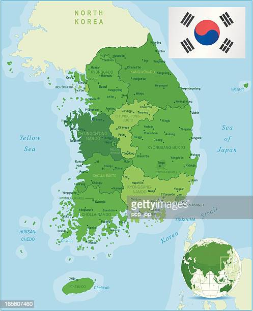 green map of south korea - states, cities and flag - south korea stock illustrations, clip art, cartoons, & icons