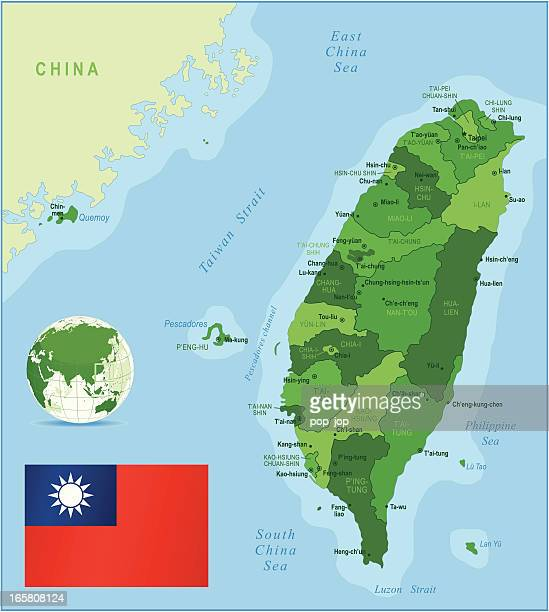 Green Map of Taiwan - states, cities and flag
