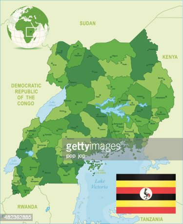 Green Map Of Uganda States Cities And Flag Vector Art Getty Images