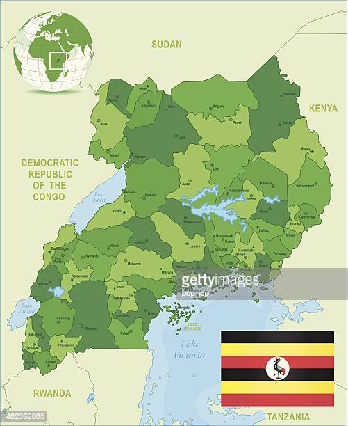 Green Map of Uganda - states, cities and flag