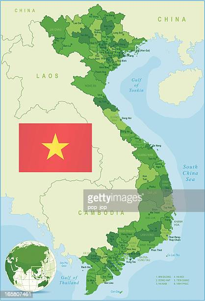 Green Map of Vietnam - states, cities and flag