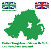 Green map outline and flag of Northern Ireland, union jack flag and green union flag, with name text United Kingdom of Great Britain and Northern Ireland.