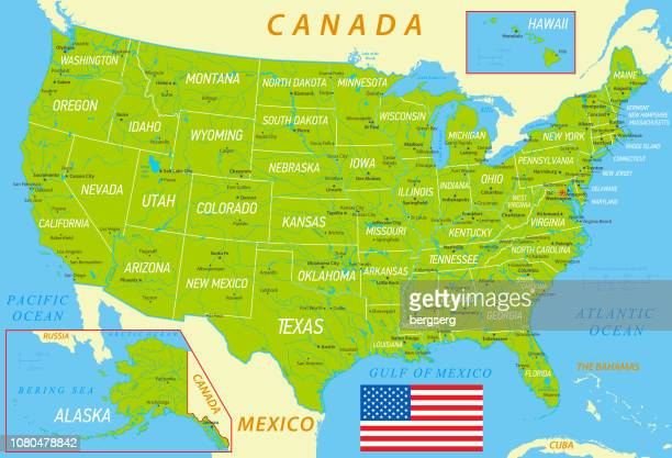 ilustrações, clipart, desenhos animados e ícones de mapa de verde dos eua com a bandeira nacional, estados e rios - usa