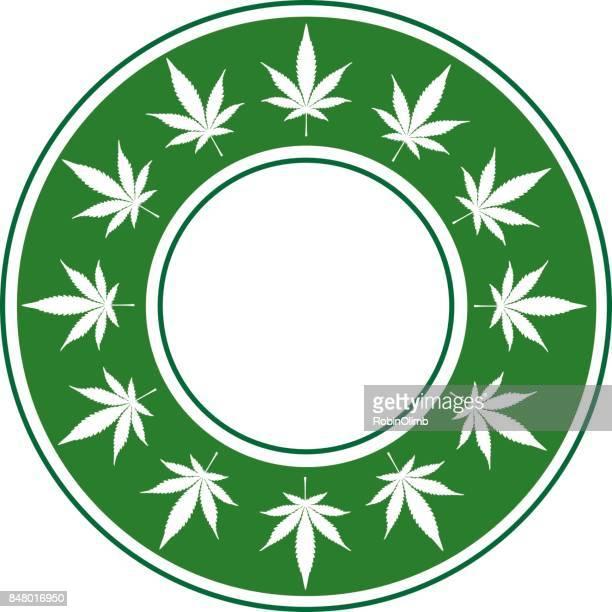 ilustraciones, imágenes clip art, dibujos animados e iconos de stock de frontera círculo verde marihuana - marihuana