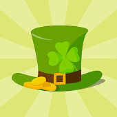 Green material leprechaun hat with brown leather band emblazoned with gold shamrock and buckle vector illustration