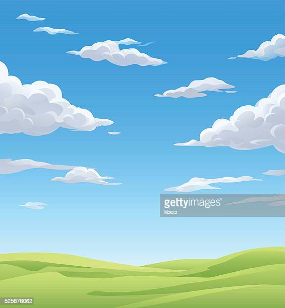 green meadow under a cloudy sky - cloudscape stock illustrations, clip art, cartoons, & icons